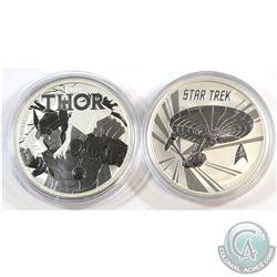 2016 Tuvalu $1 Star Trek U.S.S. Enterprise & 2018 Tuvalu $1 Thor Marvel Series 1oz Fine Silver Coins