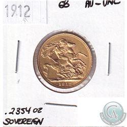 1912 Great Britain Gold Sovereign AU-UNC - Contains 0.2354oz Pure Gold.
