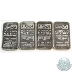 1oz Johnson Matthey .999 Fine Silver Bars (toned). 4pcs (TAX Exempt)