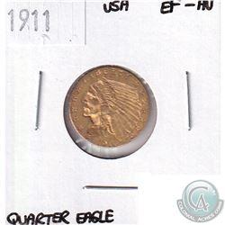 1911 USA Gold Quarter Eagle EF-AU - Contains 0.121oz Pure Gold.
