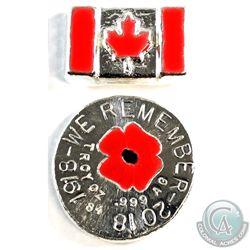 Pair of Beaver Bullion Red Enameled 1oz Fine Silver - 1918-2018 'We Remember' Round & Canada Flag Ba