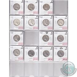 1937-1952 Canada Silver 25-cent Collection in Extra Fine Condition (impaired). You will receive each