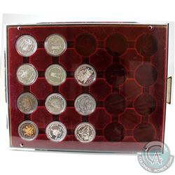 1971-1981 Canada Commemorative Silver Dollar Collection in display Tray. You will receive each Silve