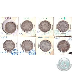 Estate Lot 1909-1929 Canada Silver 50-cent Collection. You will receive 1909, 1910, 1911, 1914, 1916