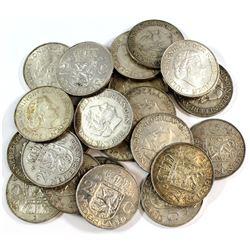Estate Lot 1959-1966 Netherlands 2 1/2 Gulden Coin Collection. Coins are .720 Fine Silver. Collectio