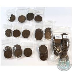 Estate Lot 1920-1936 Canada George V 1-cent Collection. You will receive a range of coins dated from