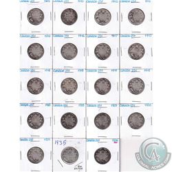 Estate Lot 1905-1936 Canada Silver 25-cent Collection. You will receive 19 Coins dated between 1905
