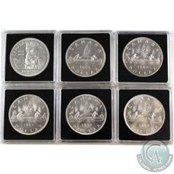 Estate Lot 1958-1963 Canada Silver Dollar Collection in Capsules. You will receive one of each date