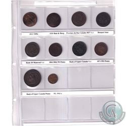 Estate Lot 1812-1943 Canada Token/Coin Collection. You will receive 1812 Tiffin, 1820 Bust & Harp, 1