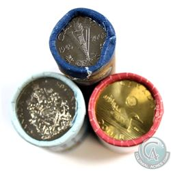 2005 5-cent, 2014 50-cent, & 2017 Loon Canada Special Wrapped Rolls. Please note 2005 and 2017 Rolls