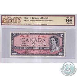 1954 $2 BC-38c, Bank of Canada, Bouey-Rasminsky, S/N: L/G5941121, Changeover, BCS Certified GUNC-66