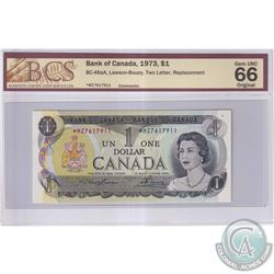 1973 $1 BC-46aA, Bank of Canada, Lawson-Bouey, S/N: *MZ7617911, Two Letter, Replacement, BCS Certifi