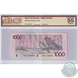 1988 $1000 BC-61a, Bank of Canada, Thiessen-Crow, S/N: EKA1108095, BCS Certified AU-55 Original