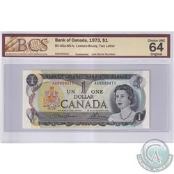 1973 $1 BC-46a-N5-iv, Bank of Canada, Lawson-Bouey, Low Serial Number, Two Letter, S/N: AA0000611, B