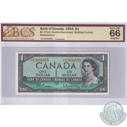 1954 $1 BC-37bA-I, Bank of Canada, Beattie-Rasminsky, Modified Portrait, S/N: *B/M3094858, Replaceme