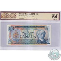 1972 $5 BC-48b-N1-iii, Bank of Canada, Lawson-Bouey, S/N: SZ0583850, 4 Digit RADAR, BCS Certified CU