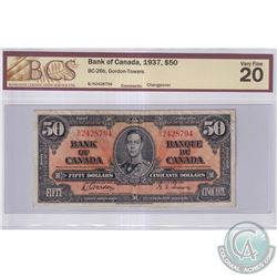 1937 $50 BC-26b, Bank of Canada, Gordon-Towers, S/N: B/H2428794, Changeover, BCS Certified VF-20