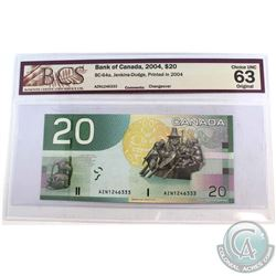 2004 $20 BC-64a, Bank of Canada, Jenkins-Dodge, S/N: AZN1246333, Changeover, Printed in 2004, BCS Ce