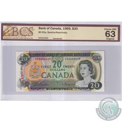 1969 $20 BC-50a, Bank of Canada, Beattie-Rasminsky, S/N: ED5603629, BCS Certified CUNC-63 Original
