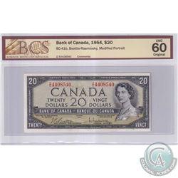 1954 $20 BC-41b, Bank of Canada, Beattie-Rasminsky, S/N: Z/E4408540, Modified Portrait, BCS Certifie