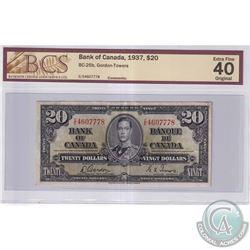 1937 $20 BC-25b, Bank of Canada, Gordon-Towers, S/N: C/E4607778, BCS Certified EF-40 Original