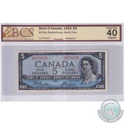 1954 $5 BC-31b, Bank of Canada, Beattie-Coyne, Devil's Face, S/N: C/C9770276, BCS Certified EF-40 Or