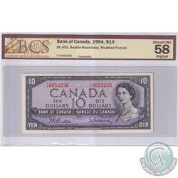 1954 $10 BC-40b, Bank of Canada, Beattie-Rasminsky, Modified Portrait, S/N: T/V0653236, BCS Certifie