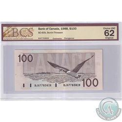 1988 $100 BC-60b, Bank of Canada, Bonin-Thiessen, S/N: BJH7783828, BCS Certified CUNC-62 Original