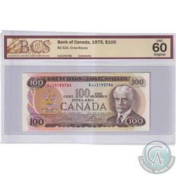 1975 $100 BC-52b, Bank of Canada, Crow-Bouey, S/N: AJJ2193786, BCS Certified UNC-60 Original