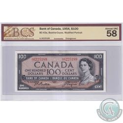 1954 $100 BC-43a, Bank of Canada, Beattie-Coyne, Modified Portrait, S/N: A/J6225189, BCS Certified A
