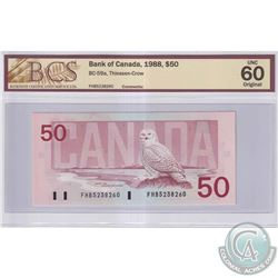 1988 $50 BC-59a, Bank of Canada, Thiessen-Crow, S/N: FHB5238260, BCS Certified UNC-60 Original