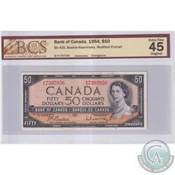 1954 $50 BC-42b, Bank of Canada, Beattie-Rasminsky, Modified Portrait, S/N: B/H7397056, BCS Certifie