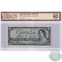 1954 $1 BC-29a, Bank of Canada, Coyne-Towers, Devil's Face, S/N: F/A3017313, BCS Certified EF-40 Ori