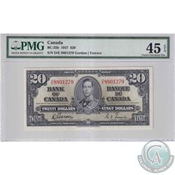 1937 $20 BC-25b, Bank of Canada, Gordon-Towers, S/N: D/E8801279, PMG Certified EF-45 EPQ