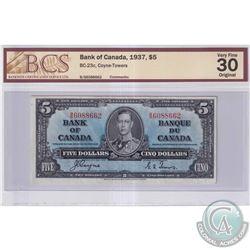 1937 $5 BC-23c, Bank of Canada, Coyne-Towers, S/N: B/S6088662, BCS Certified VF-30 Original