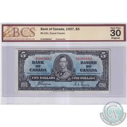 1937 $5 BC-23c, Bank of Canada, Coyne-Towers, S/N: B/S6088662, BCS Certified VF-30 Original