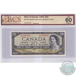 1954 $20 BC-41b, Bank of Canada, Beattie-Rasminsky, Modified Portrait, S/N: G/W2190700, BCS Certifie