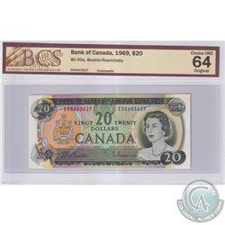 1969 $20 BC-50a, Bank of Canada, Beattie-Rasminsky, S/N: ED5603627, BCS Certified CUNC-64 Original