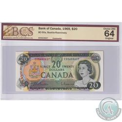 1969 $20 BC-50a, Bank of Canada, Beattie-Rasminsky, S/N: ED5603627, BCS Certified CUNC-64 Original