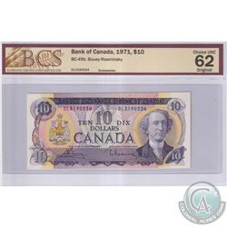 1971 $10 BC-49b, Bank of Canada, Bouey-Rasminsky, S/N: DL3190534, BCS Certified CUNC-62 Original