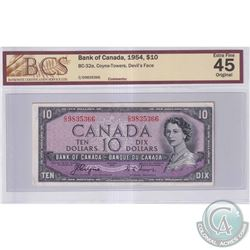 1954 $10 BC-32a, Bank of Canada, Coyne-Towers, Devil's Face, S/N: C/D9835366, BCS Certified EF-45 Or