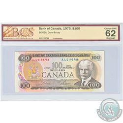 1975 $100 BC-52b, Bank of Canada, Crow-Bouey, S/N: AJJ2193788, BCS Certified CUNC-62 Original