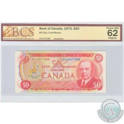1975 $50 BC-51b, Bank of Canada, Crow-Bouey, S/N: EHL4471088, BCS Certified CUNC-62 Original