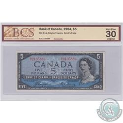 1954 $5 BC-31a, Bank of Canada, Coyne-Towers, Devil's Face, S/N: B/C2195889, BCS Certified VF-30 Ori