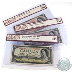 1954 $2, $10 & $20 Bank of Canada Devil's Face BCS Certified Notes. You will receive $2 BC-30b, Beat