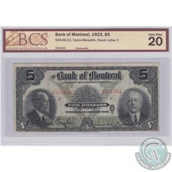 1923 $5 505-56-02, Bank of Montreal, Taylor-Meredith, Check Letter C, S/N: 2331031, BCS Certified VF