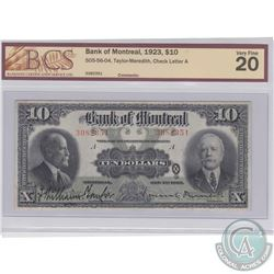 1923 $10 505-56-04, Bank of Montreal, Taylor-Meredith, Check Letter A, S/N: 3082351, BCS Certified V