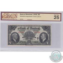 1935 $5 505-60-02, Bank of Montreal, Bog-Gordon, Check Letter C, S/N: 452760, BCS Certified VF-25