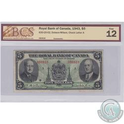 1943 $5 630-20-02, Royal Bank of Canada, Dobson-Wilson, Check Letter A, S/N: 080818, BCS Certified F
