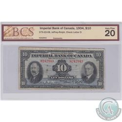 1934 $10 375-22-08, Imperial Bank of Canada, Jaffray-Rolph, Check Letter D, S/N: H242943, BCS Certif